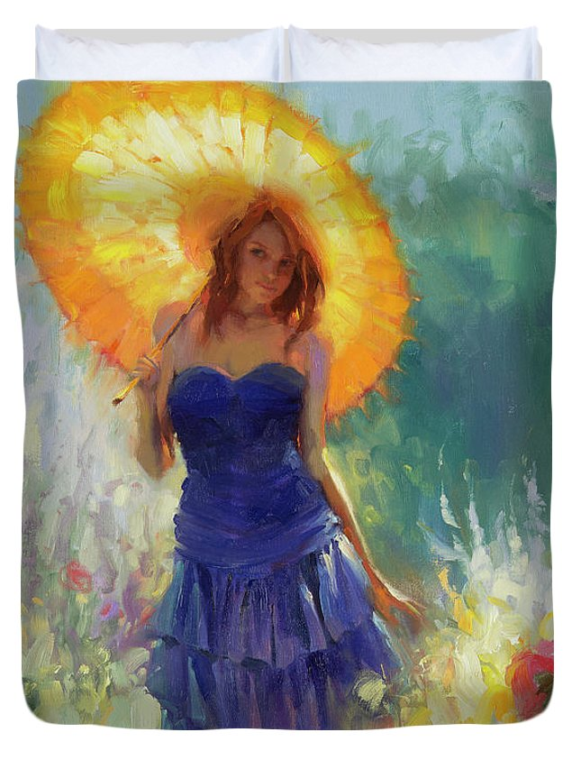 Woman Duvet Cover featuring the painting Promenade by Steve Henderson