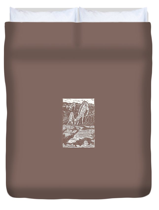Animal Duvet Cover featuring the drawing Pronghorns At Waterhole by Dawn Senior-Trask