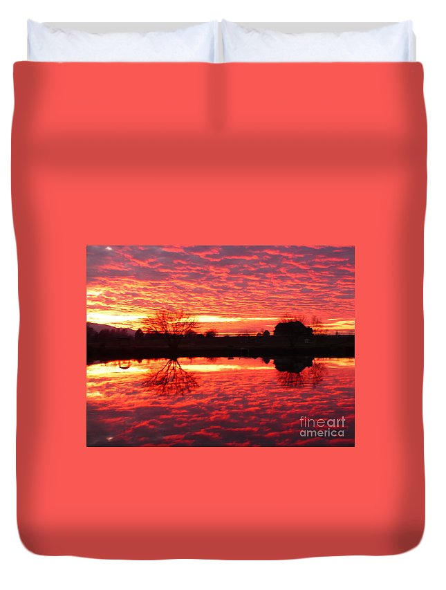 Orange Duvet Cover featuring the photograph Dramatic Orange Sunset by Carol Groenen