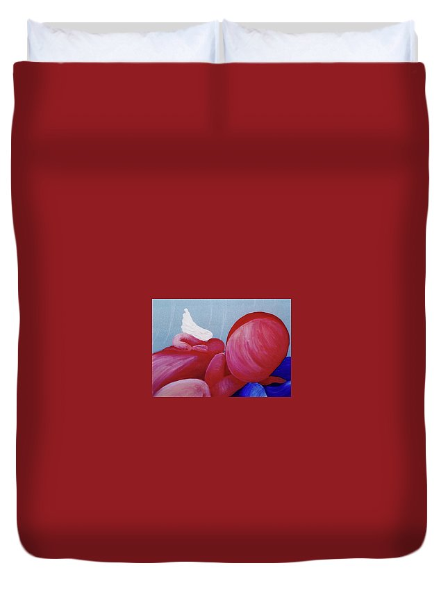 Guardian Angel Duvet Cover featuring the painting Protection Detail by Catt Kyriacou