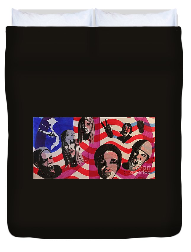 Protest Duvet Cover featuring the mixed media Protest by Ann Sokolovich