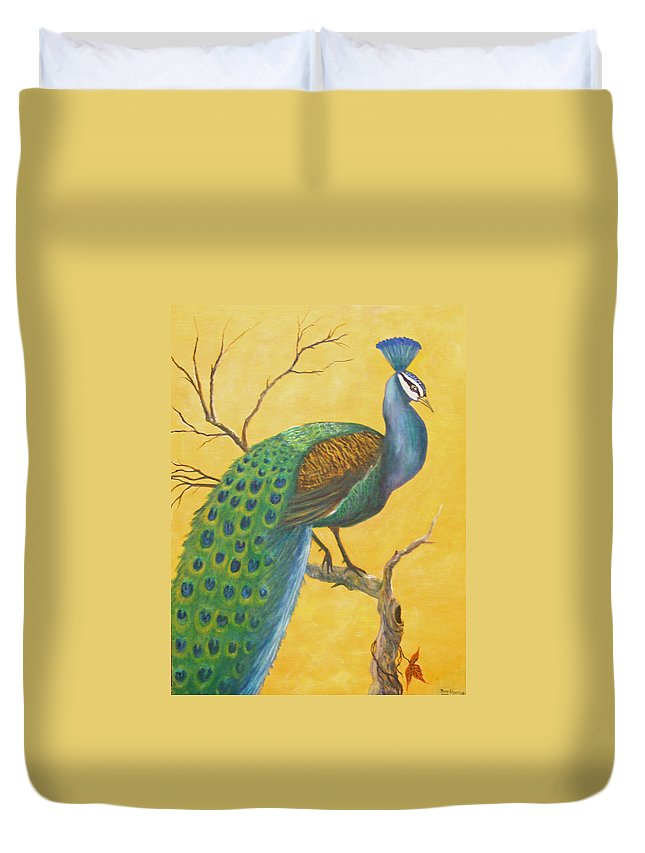 Peacock; Birds; Fall Leaves Duvet Cover featuring the painting Proud As A Peacock by Ben Kiger