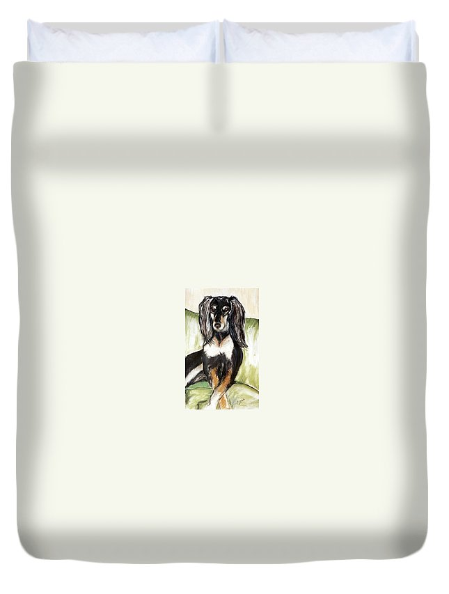 Dog Duvet Cover featuring the drawing Proud Girl by Cori Solomon