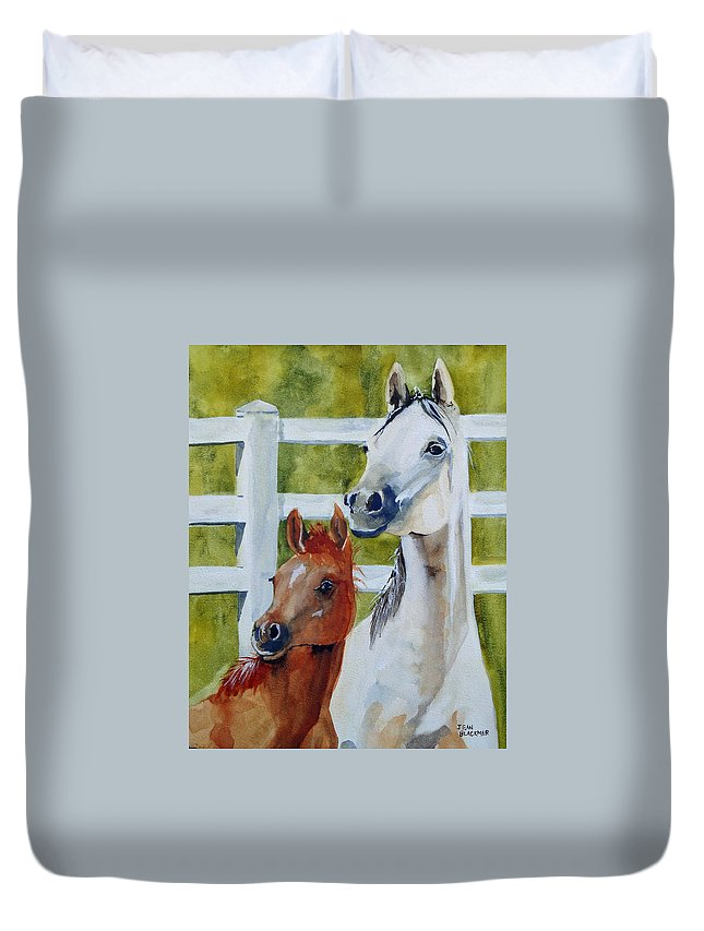 Equine Duvet Cover featuring the painting Proud Mama by Jean Blackmer