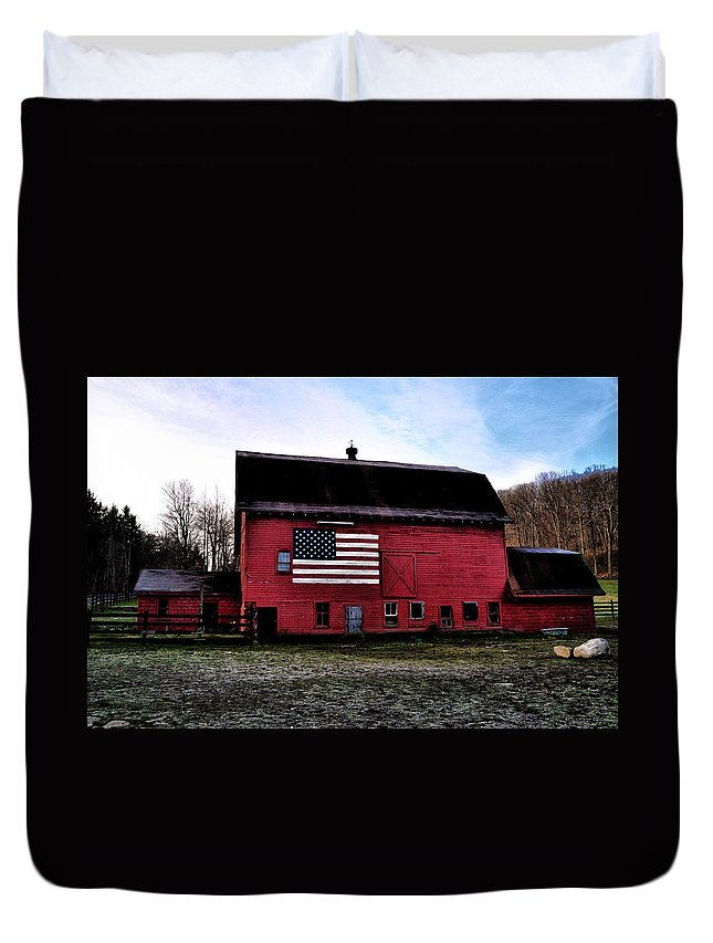Proud Duvet Cover featuring the photograph Proud To Be American by Bill Cannon
