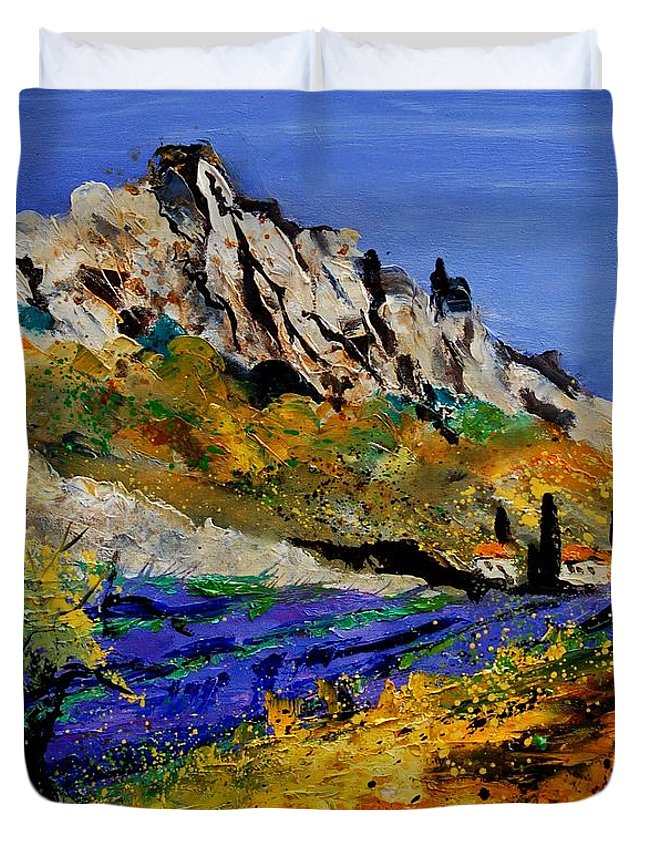 Flowers Duvet Cover featuring the painting Provence 560908 by Pol Ledent