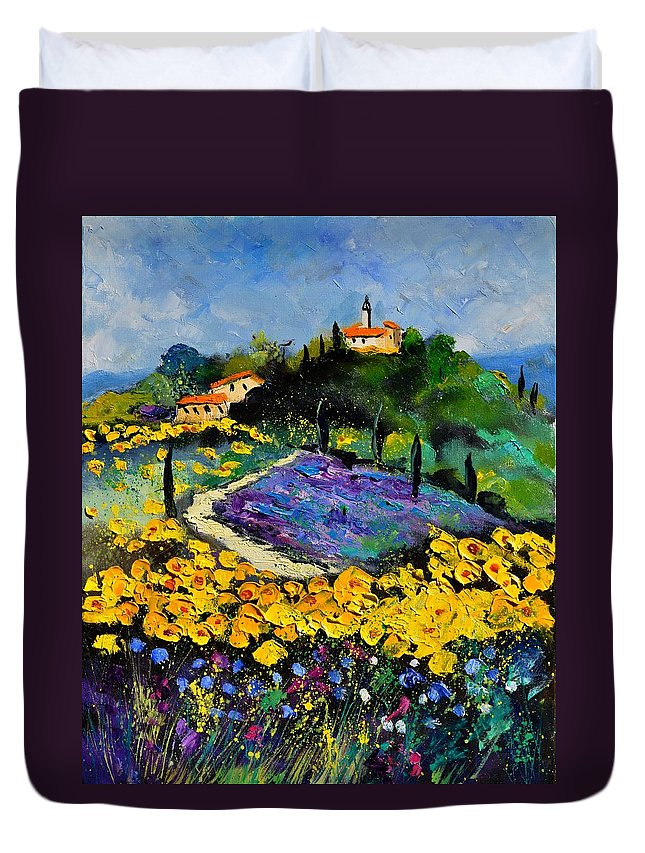 Landscape Duvet Cover featuring the painting Provence 561140 by Pol Ledent