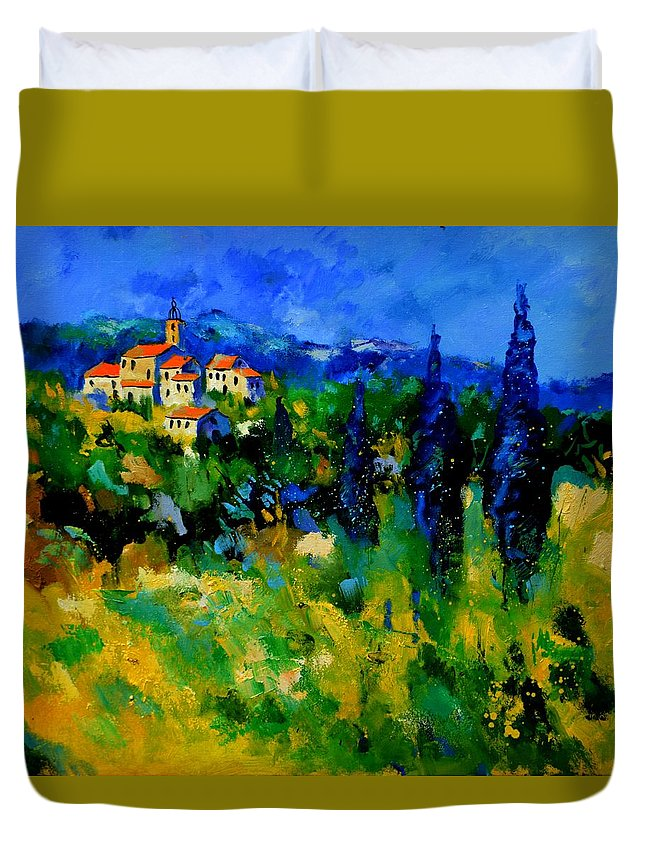 Landscape Duvet Cover featuring the painting Provence 768110 by Pol Ledent
