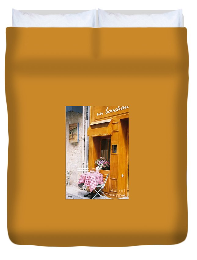 Cafe Duvet Cover featuring the photograph Provence Cafe by Nadine Rippelmeyer