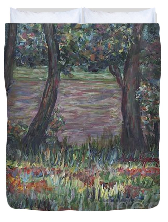 Landscape Duvet Cover featuring the painting Provence Flowers by Nadine Rippelmeyer