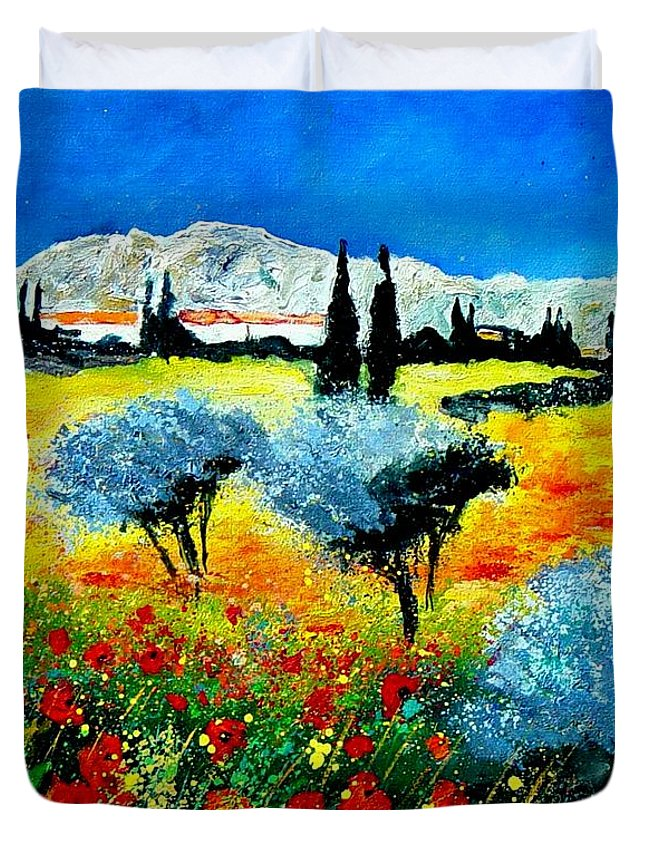 Poppies Duvet Cover featuring the painting Provence by Pol Ledent