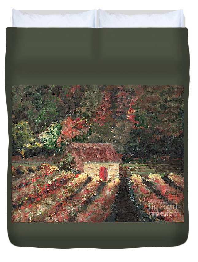 Landscape Duvet Cover featuring the painting Provence Vineyard by Nadine Rippelmeyer