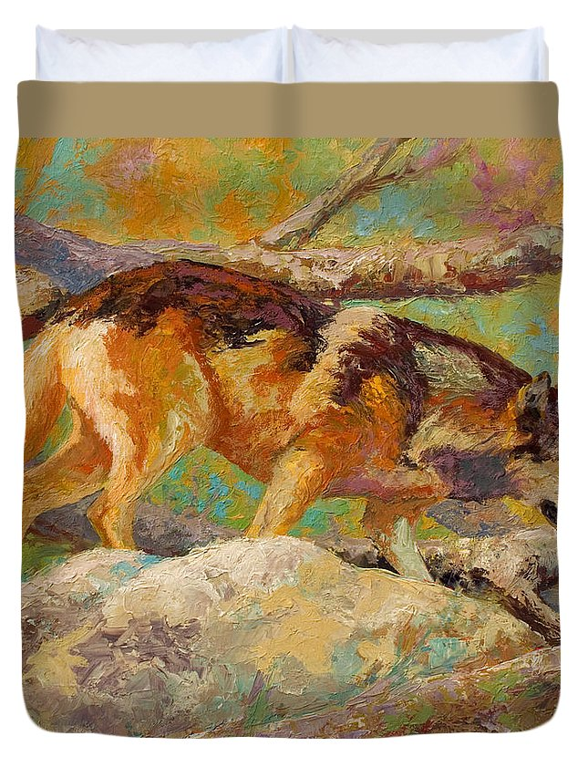 Wolf Duvet Cover featuring the painting Prowler - Grey Wolf by Marion Rose