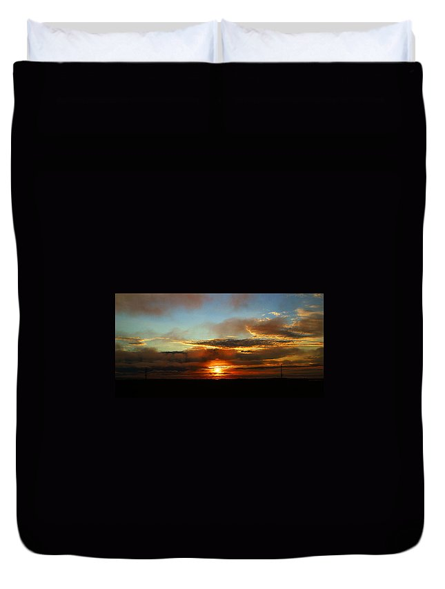 Sunset Duvet Cover featuring the photograph Prudhoe Bay Sunset by Anthony Jones