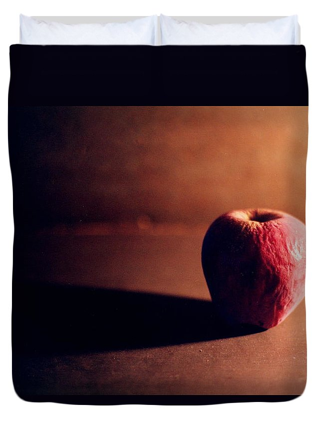 Shriveled Duvet Cover featuring the photograph Pruned Apple Still Life by Michelle Calkins