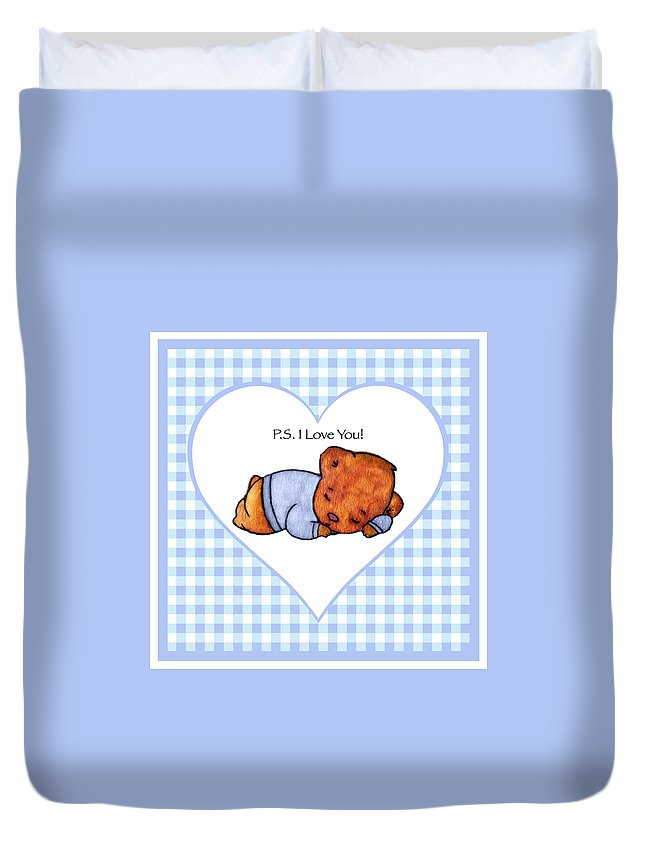 Ps I Love You Duvet Cover featuring the painting Ps I Love You - Boy Bear by Lori Blevins