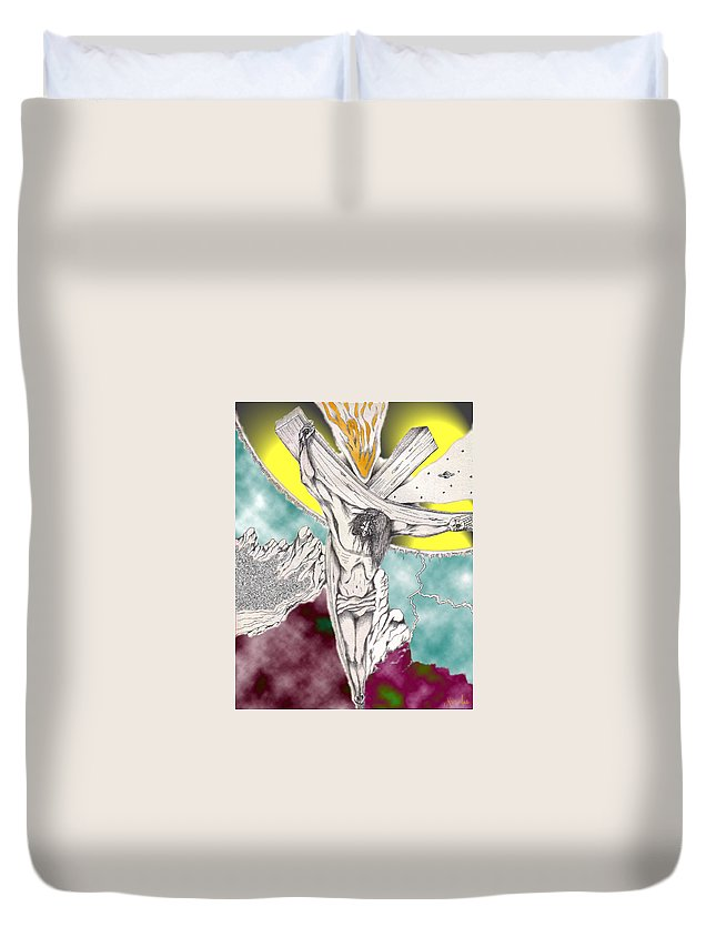 Spiritual Duvet Cover featuring the digital art Psalm 22 Ch 13-15... by Marco Morales