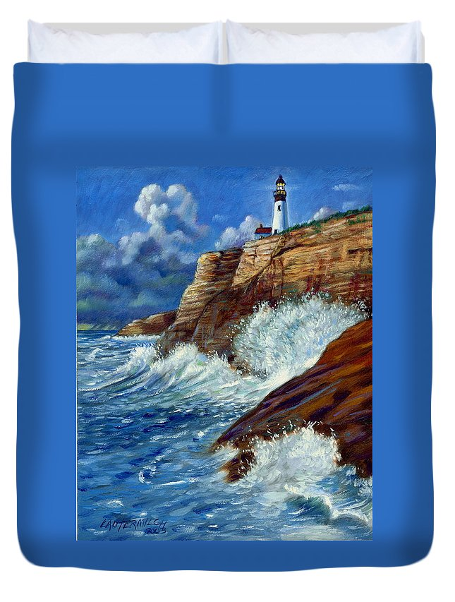 Lighthouse Duvet Cover featuring the painting Psalm Forty Three-three by John Lautermilch