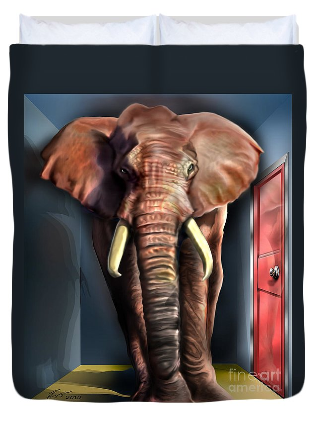 Political Satire Painting Duvet Cover featuring the painting Psst by Reggie Duffie