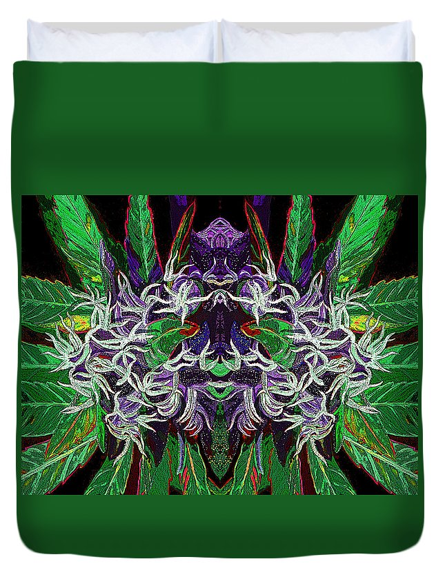 Cannabis Duvet Cover Featuring The Digital Art Psychedelic Bud 2 By Anita Toke