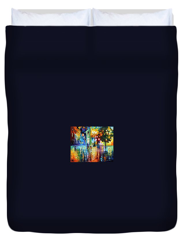 City Duvet Cover featuring the painting Psychedelic City by Leonid Afremov