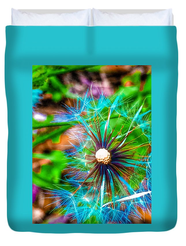Duvet Cover featuring the photograph Psychedelic Dandelion by Christine DuMouchel