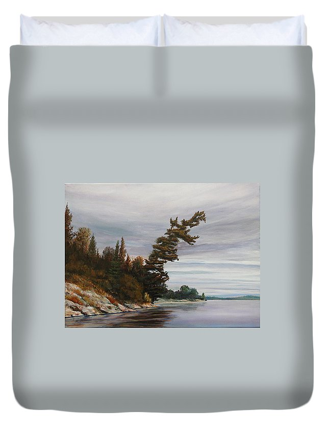Landscape Duvet Cover featuring the painting Ptarmigan Bay by Ruth Kamenev