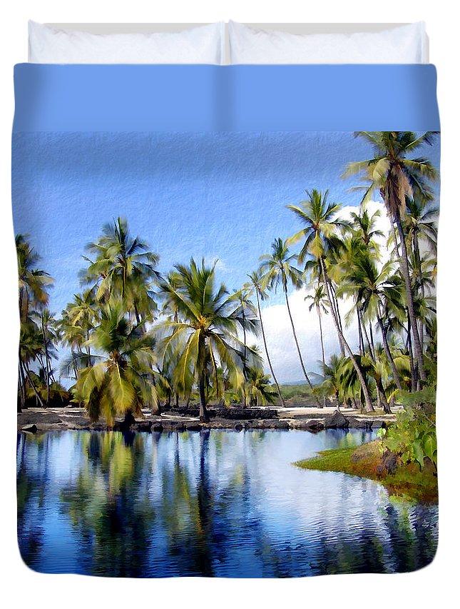 Hawaii Duvet Cover featuring the photograph Pu Uhonua O Honaunau Pond by Kurt Van Wagner