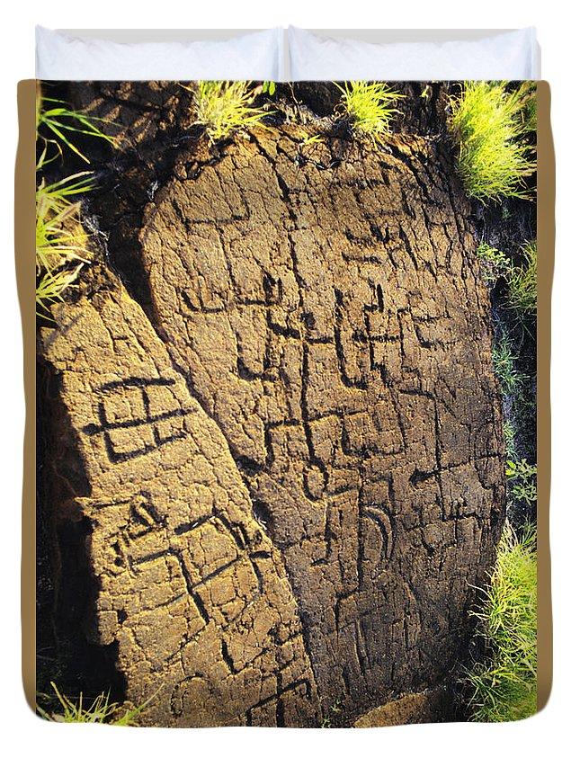 Ancient Duvet Cover featuring the photograph Puako Petroglyphs by Mary Van de Ven - Printscapes