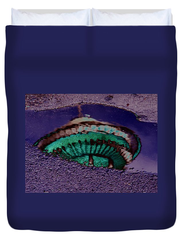 Seattle Duvet Cover featuring the digital art Puddle Needle by Tim Allen