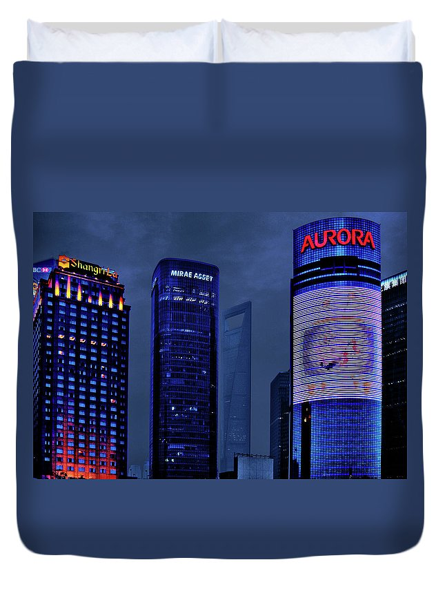 Lujiazui Duvet Cover featuring the photograph Pudong - Epitome Of Shanghai's Modernization by Christine Till