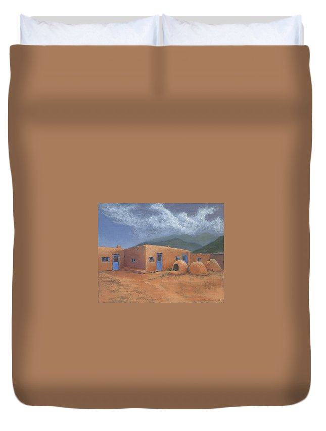 Taos Duvet Cover featuring the painting Puertas Azul by Jerry McElroy
