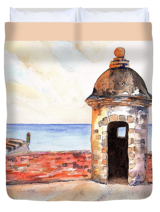 Puerto Rico Duvet Cover featuring the painting Puerto Rico Sentry Box Ocean View by Carlin Blahnik CarlinArtWatercolor