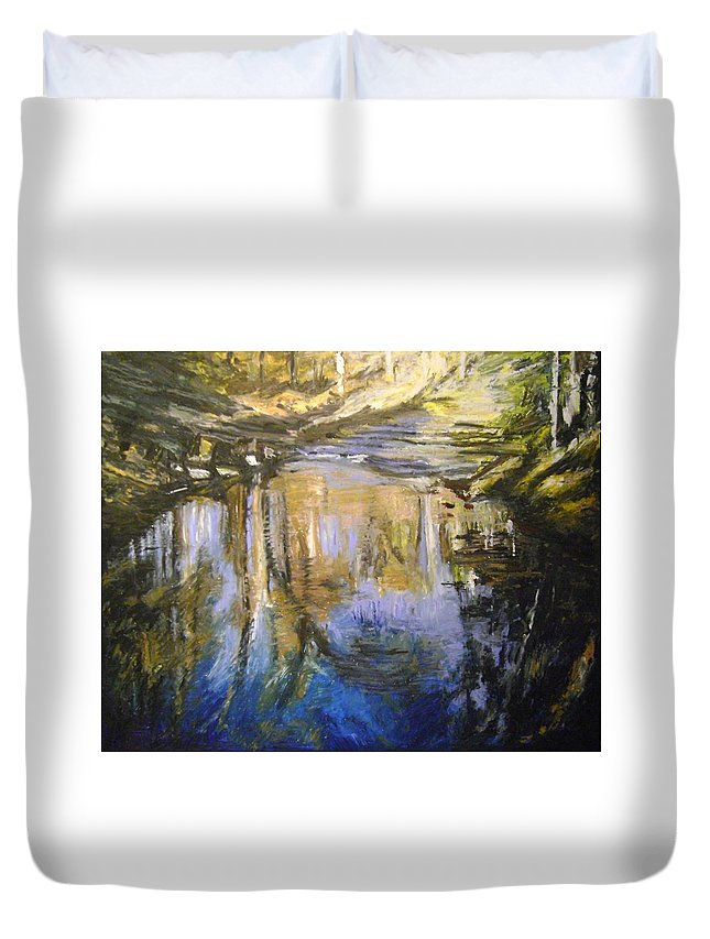 Puffers Pond Duvet Cover featuring the pastel Puffers Pond by Therese Legere