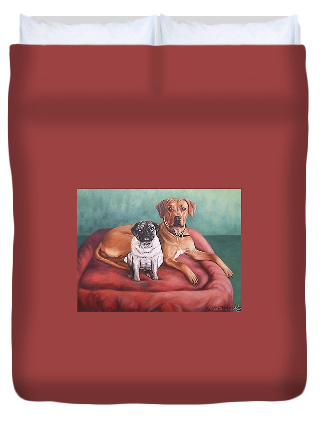 Dogs Duvet Cover featuring the painting Pug And Rhodesian Ridgeback by Nicole Zeug