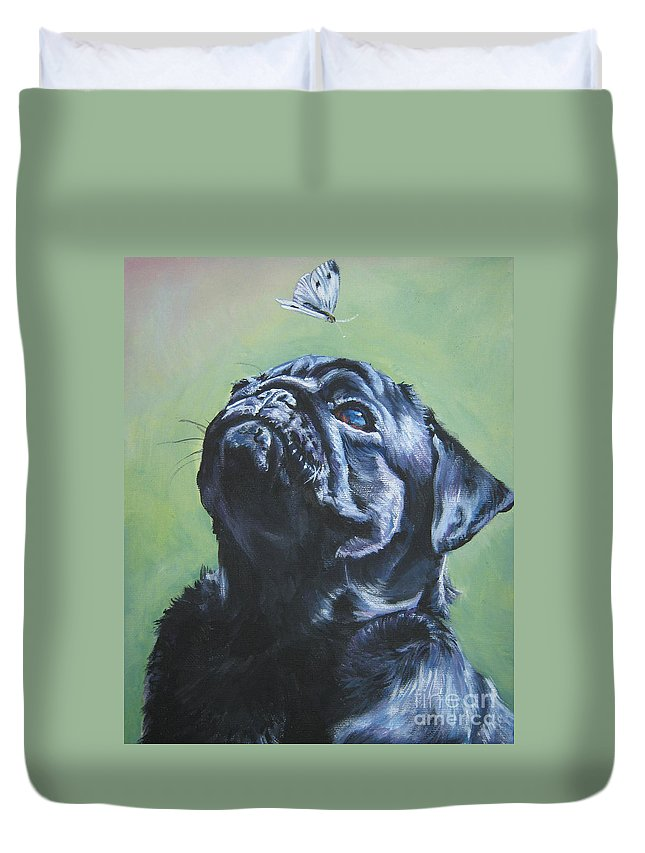 Dog Duvet Cover featuring the painting Pug Black by Lee Ann Shepard