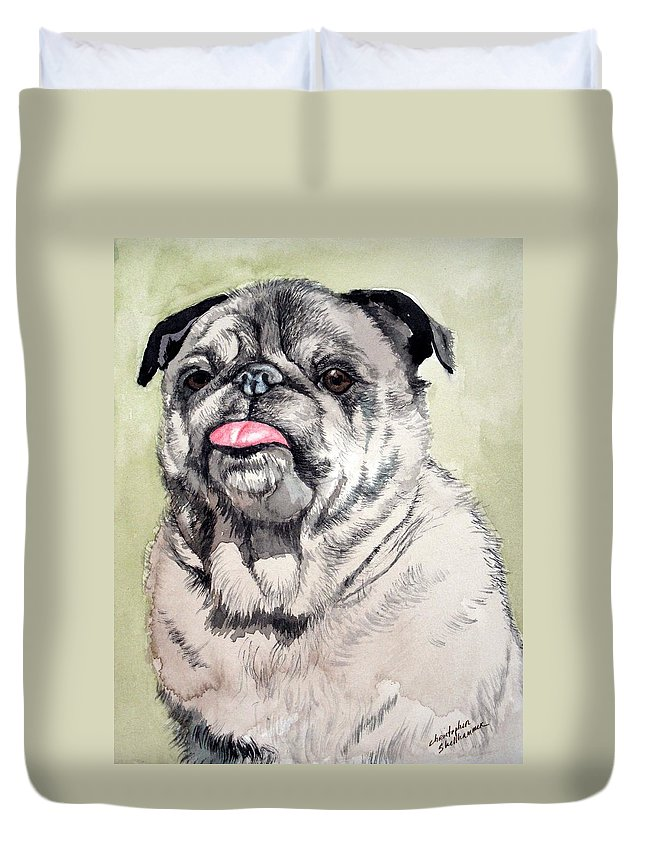 Dog Duvet Cover featuring the painting Pug by Christopher Shellhammer