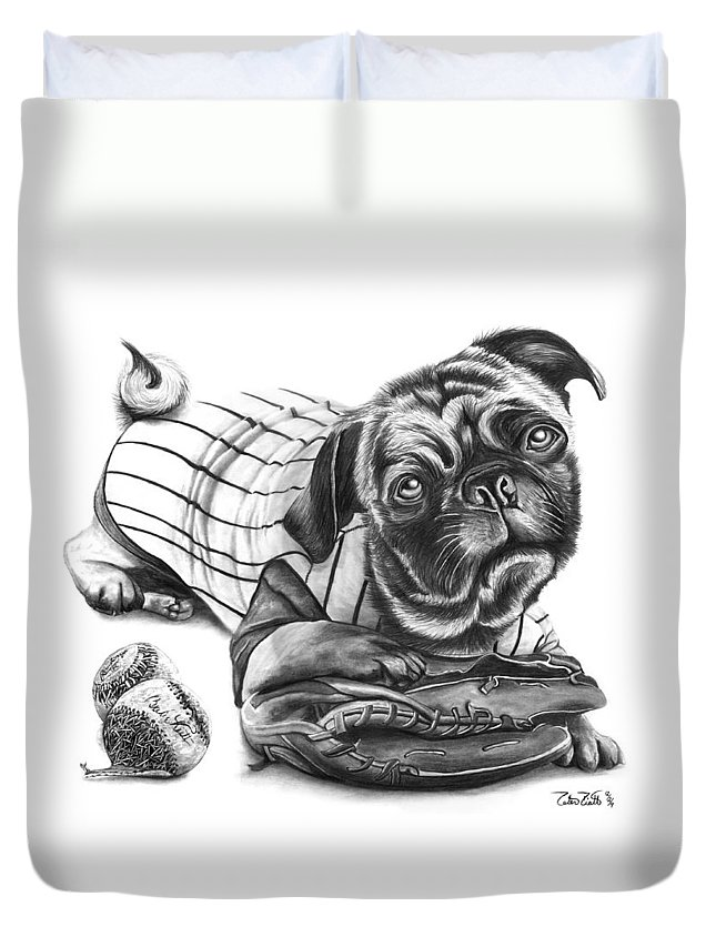 Pug Ruth Duvet Cover featuring the drawing Pug Ruth by Peter Piatt