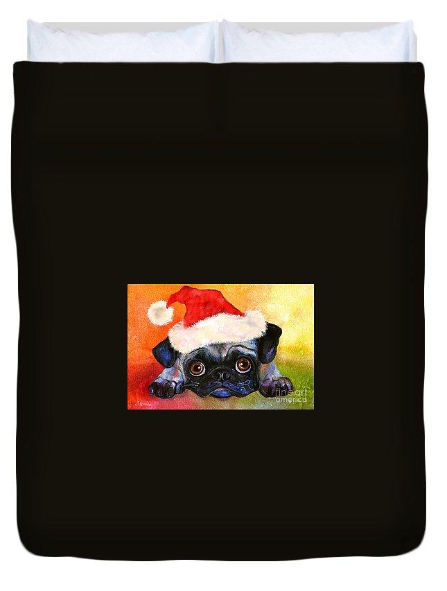 Pug Portrait Duvet Cover featuring the painting Pug Santa Portrait by Svetlana Novikova