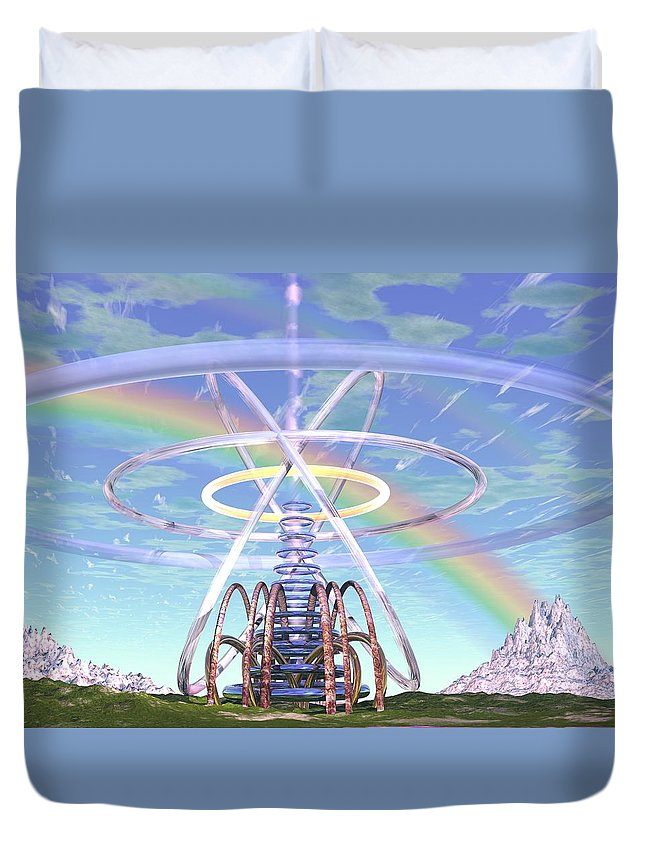 3d Duvet Cover featuring the digital art Pulsar Beacon by Dave Martsolf