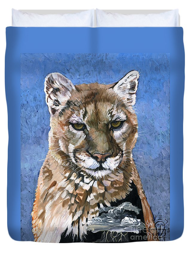 Puma Duvet Cover featuring the painting Puma - The Hunter by J W Baker