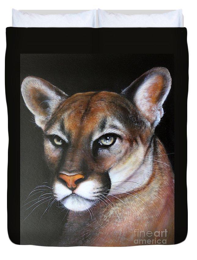 Puma Duvet Cover featuring the painting Puma by Jon Quinn