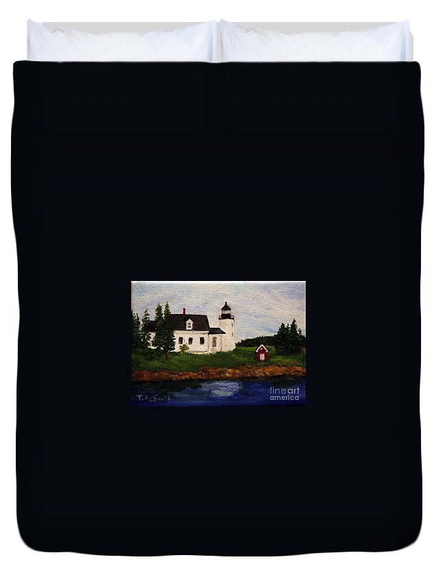 Landscape Duvet Cover featuring the painting Pumpkin Island Lighthouse by Timothy Smith
