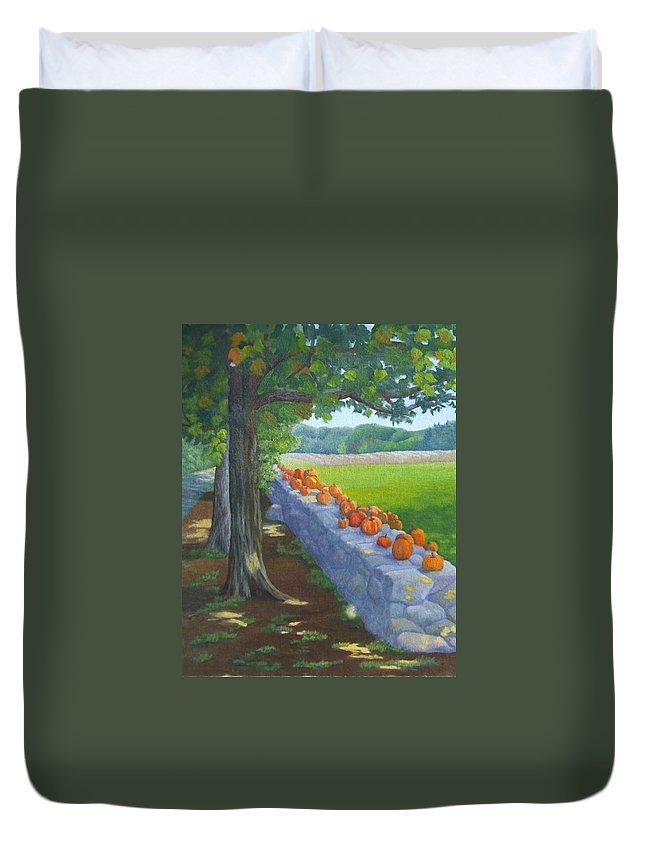 Pumpkins Duvet Cover featuring the painting Pumpkin Muster by Sharon E Allen