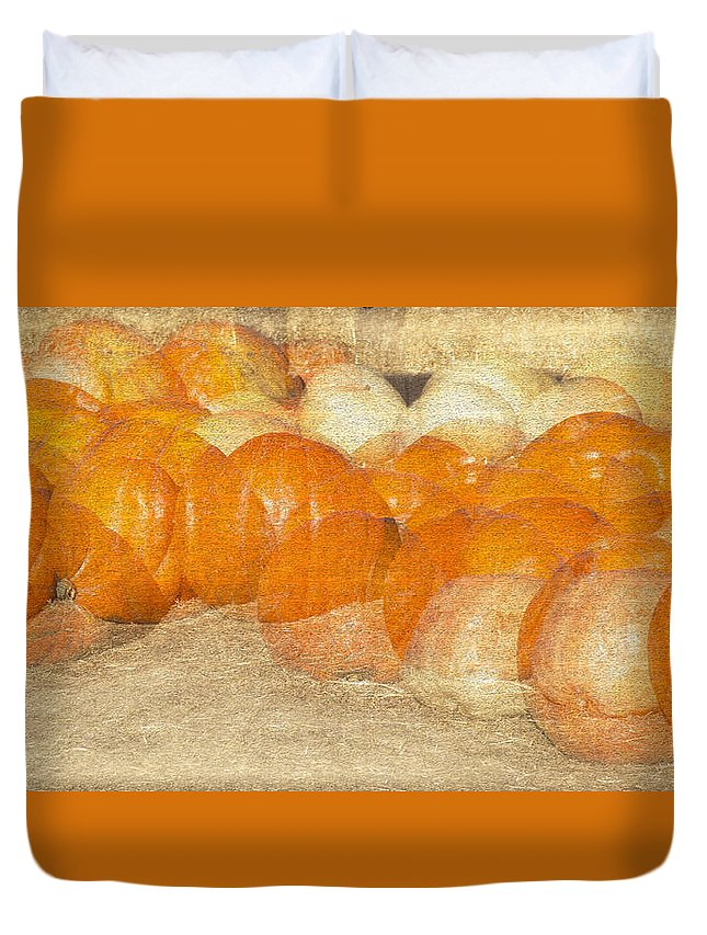 Harvest Duvet Cover featuring the photograph Pumpkin Overlay by Jinfeng Shi