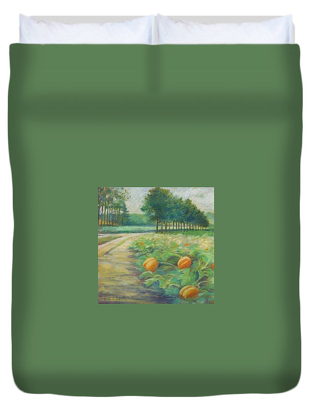 Alfred Duvet Cover featuring the pastel Pumpkin Patch by Leslie Alfred McGrath