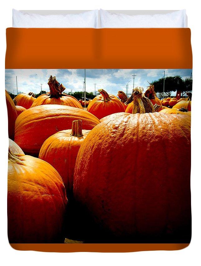Pumpkin Duvet Cover featuring the photograph Pumpkin Patch Piles by Marisela Mungia