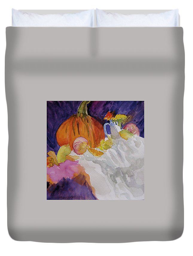 Pumpkin Duvet Cover featuring the painting Pumpkin Still Life by Beverley Harper Tinsley