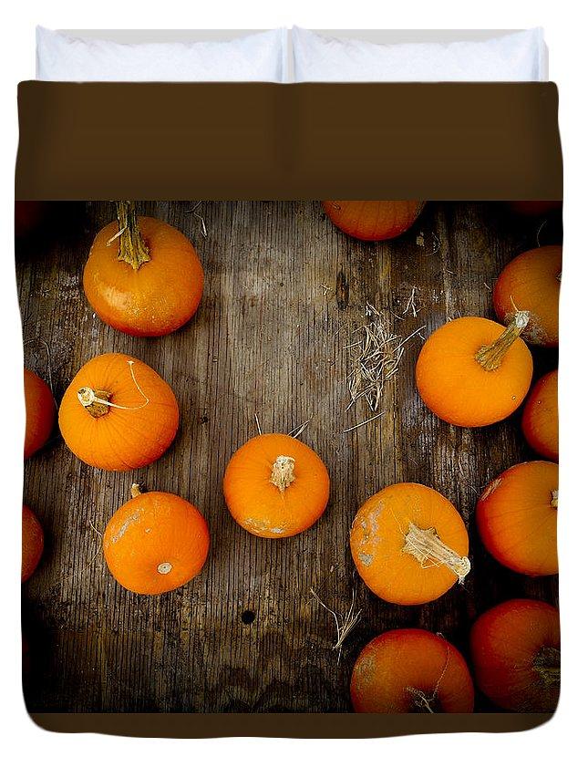 Pumpkin Duvet Cover featuring the photograph Pumpkin Tops by Marisela Mungia