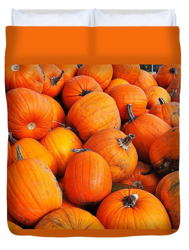 Pumpkin Duvet Cover featuring the photograph Pumpkins by Louise Heusinkveld